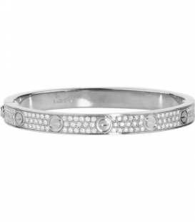 Cartier Love Bracelet - Full Diamonds Silver