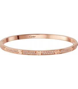 Bratara Cartier Love - Slim Full Diamonds Rose Gold