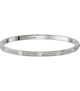 Bratara Cartier Love - Slim Full Diamonds Silver